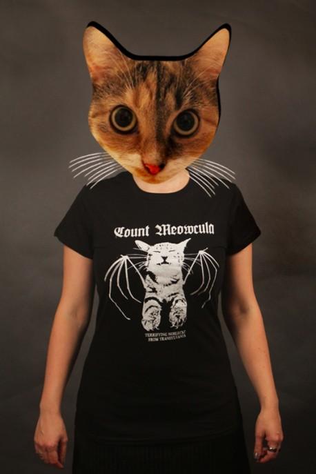 """tričko """"hrabě Meowcula"""" černé"""