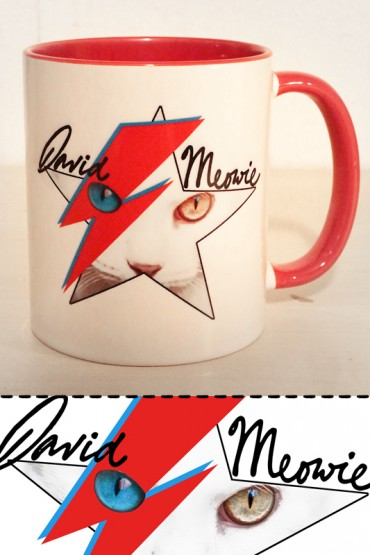 "Mug ""David Meowie"" light blue"